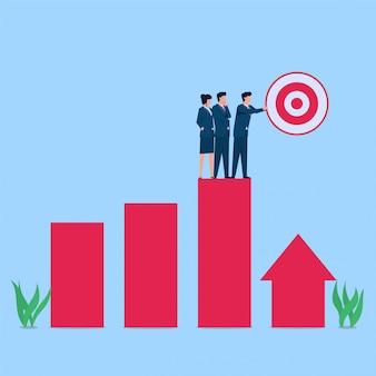 マネージャーは目標をチャートのビジョンの比喩より上に置きました。ビジネスフラットの概念図。