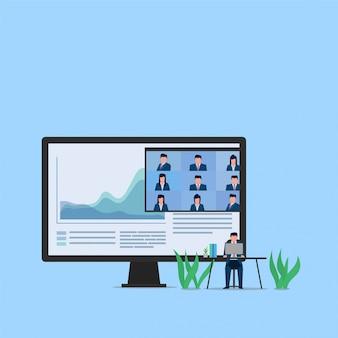 男はオンラインプレゼンテーションのビデオ会議のメタファーを介してラップトップの現在の会社の売上高と金融に座ります。ビジネスフラットの概念図。