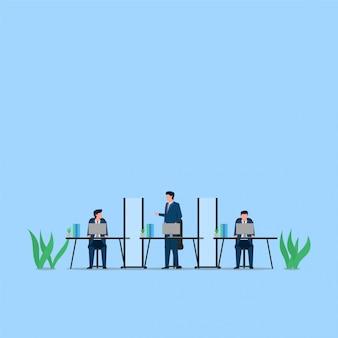 男は、肉体的な距離の机の比喩の側にある仕切りを介して彼女のパートナーに尋ねます。ビジネスフラットの概念図。