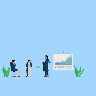 女性は、身体の距離という比喩と他の人々の間のスクリーンと距離を提示します。ビジネスフラットの概念図。