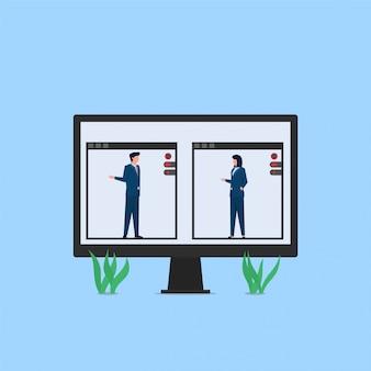 オンライン会議のメタファーのモニターでビデオ通話を介してマネージャーとクライアントの会議。ビジネスフラットの概念図。