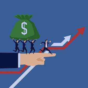 Бизнес команда запустить и держать деньги, чтобы расти диаграмму.