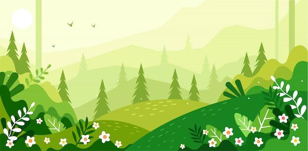 美しい緑の風景イラスト