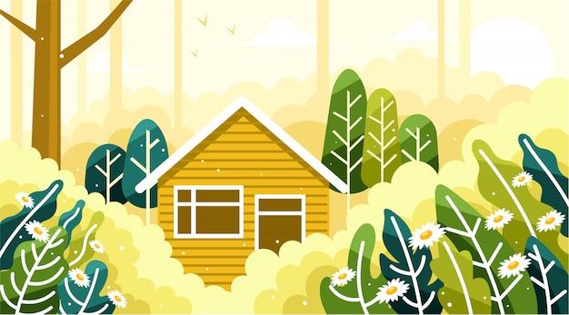 美しい森の真ん中にある家
