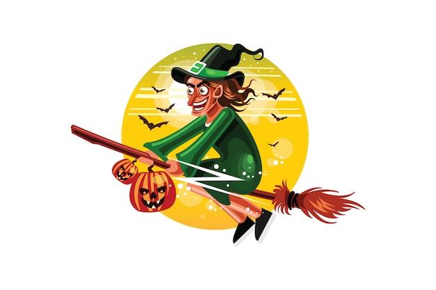 ハロウィーンの魔女がほうきで飛ぶ