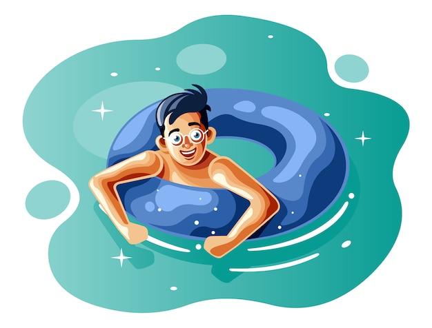 リングブイと一緒に泳ぐ少年