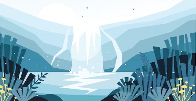野生の滝の美しい景色