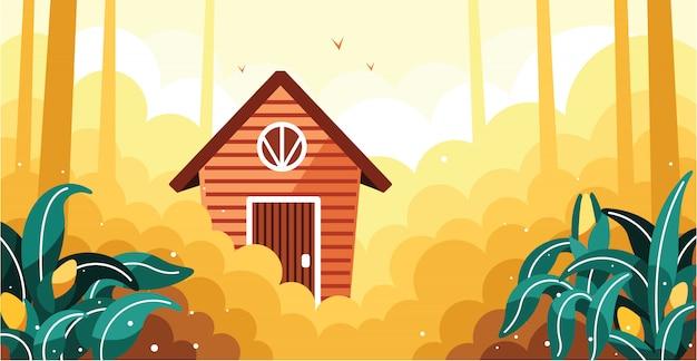 シンプルなトウモロコシ畑と小さな家のイラスト