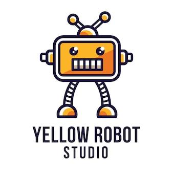 黄色のロボットスタジオのロゴのテンプレート