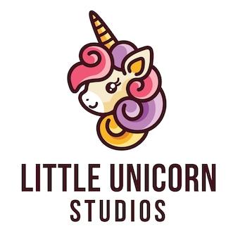 Маленький единорог логотип шаблон
