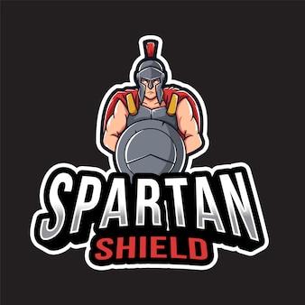 Шаблон логотипа спартанский щит