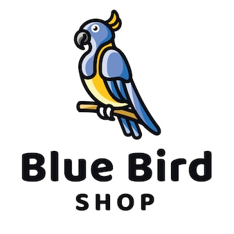 Шаблон логотипа синяя птица магазин