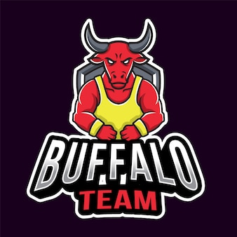 バッファローチームスポーツのロゴのテンプレート