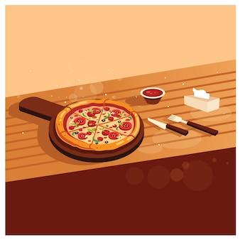 木製のテーブルで美味しいピザ