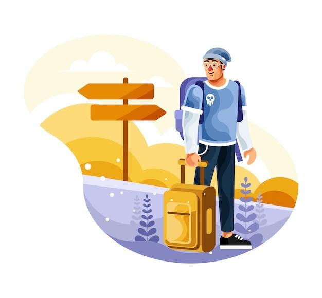 バックパッカーが旅行にスーツケースを運ぶ