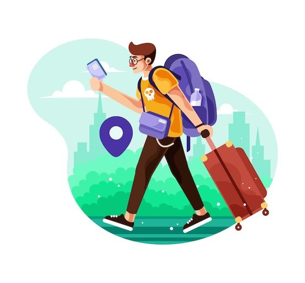 街を歩いて男性旅行者がスーツケースを運ぶ