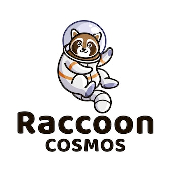 アライグマコスモスかわいい子供たちのロゴのテンプレート