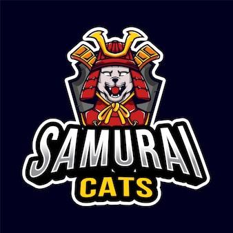 Самурай кошки эспорт логотип