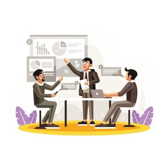 会議室でのスタートアップのチームワーク