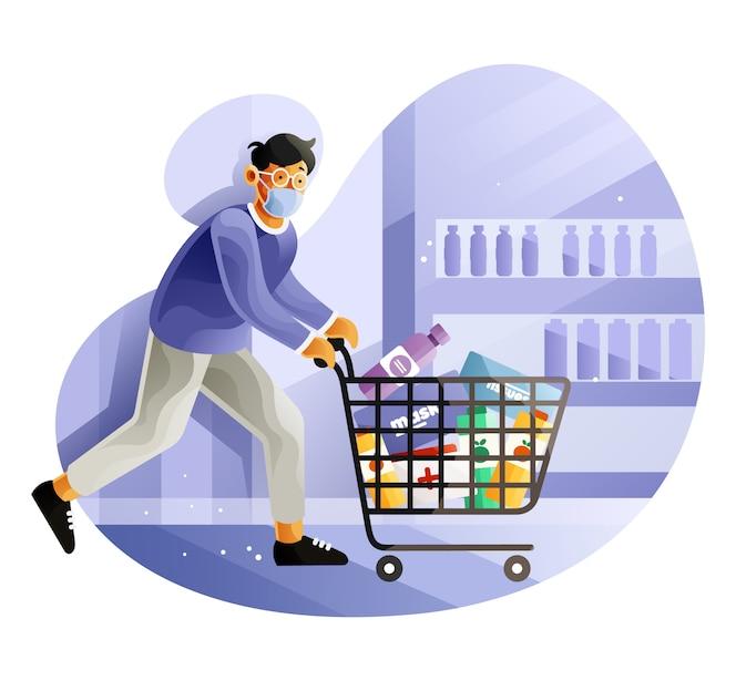 Человек паники покупки работает с полной тележкой на рынке из-за пандемического коронавируса