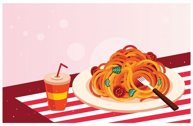 ドリンクを飲みながらおいしいスパゲッティ