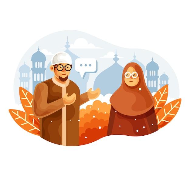 イスラム教徒のカップルがベクトル図をチャット