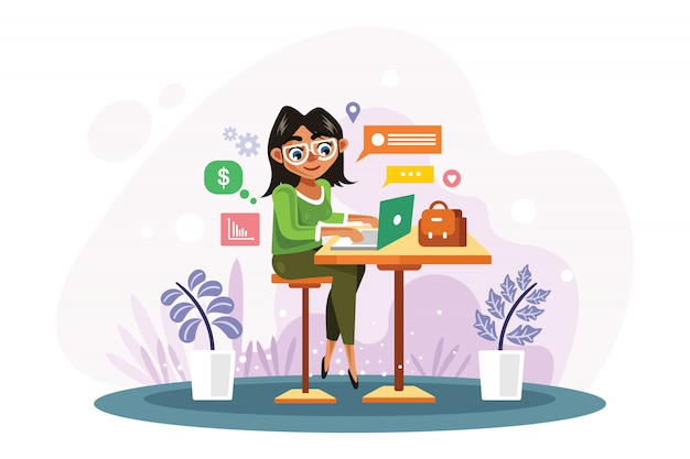 女性はノートパソコンのベクトル図で働いています。