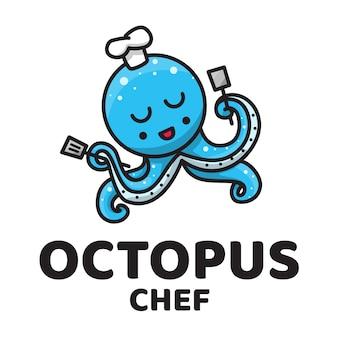 Шеф-повар осьминога милый логотип