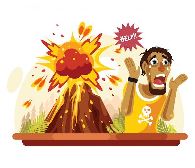 火山災害のため男が叫んだ