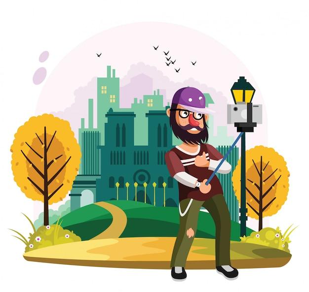 都市公園でビデオブログを撮る男