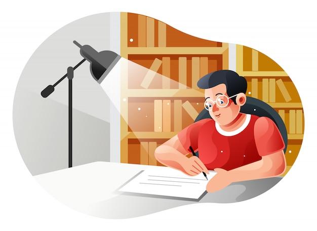Мальчик учится с книгой за столом с лампой