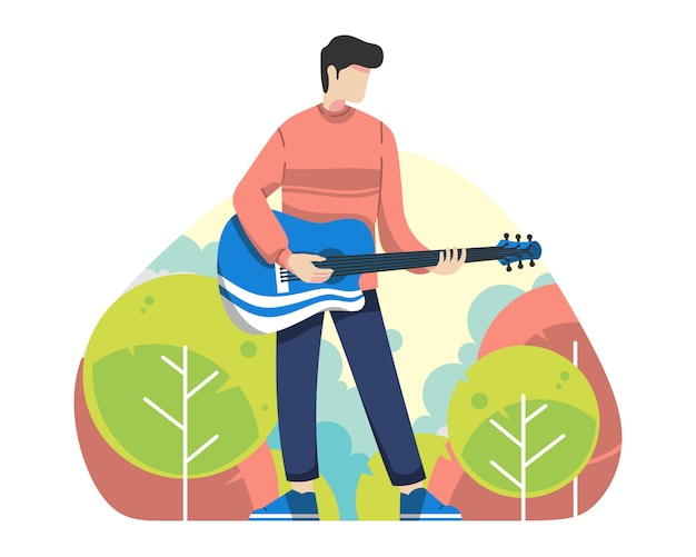 Молодой человек играет на гитаре на открытом воздухе векторная иллюстрация