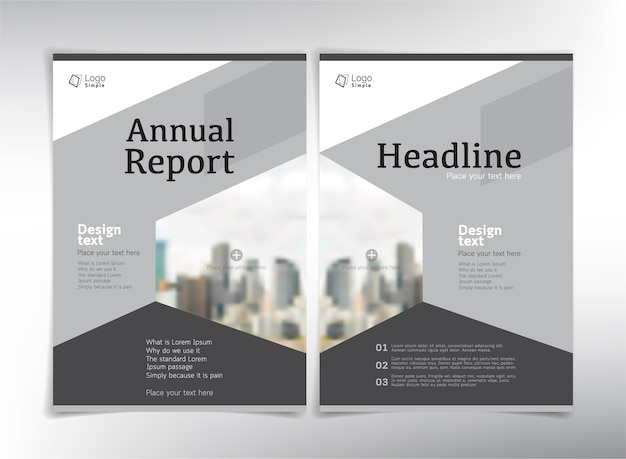 写真のためのスペースがある年次報告書のページ