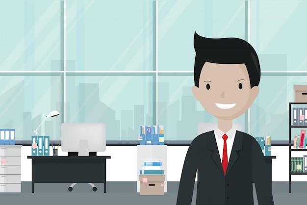 Мультяшный бизнесмен в офисе