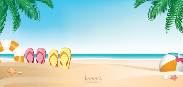 カラフルな夏休みビーチバナー