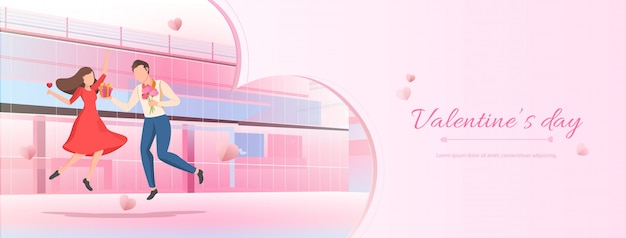 漫画のカップルとピンクのバレンタインバナーの背景