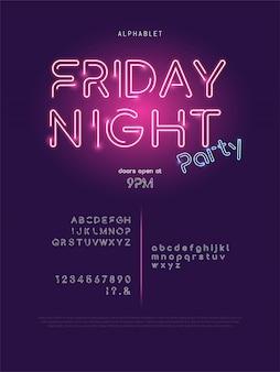 輝くネオンライトパーティーテーマ現代アルファベットフォントセット