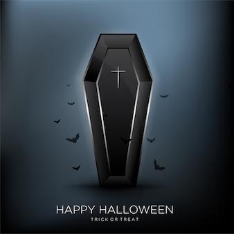 Счастливый хэллоуин фон с черным гробом