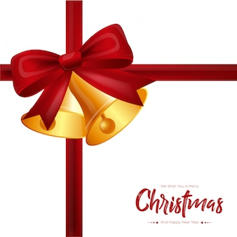 Рождественская подарочная карта с красным бантом и колокольчиками