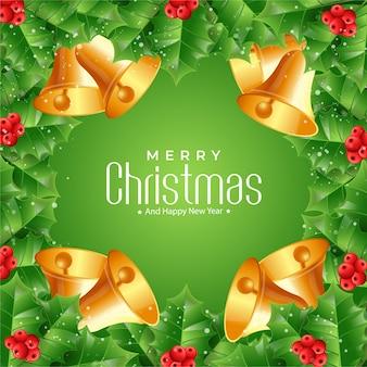 Рождественские еловые ветки и колокольчики фон