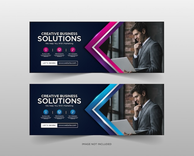 Цифровой бизнес маркетинг баннер шаблон