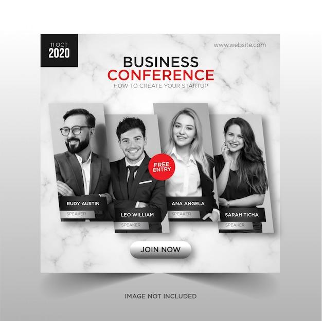 Бизнес-конференция социальные медиа баннер квадратный флаер шаблон