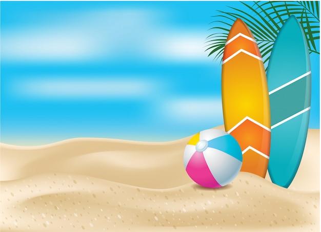夏のサーフボードとビーチでのボール、夏のお祝いバナーの創造的なコンセプト。リアルなデザインスタイル。図