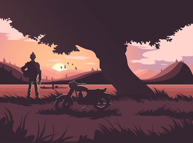 Красивый восход солнца, сцена заката