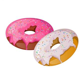 ピンクと白のおいしいドーナツ