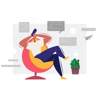 ビジネスマンのキャラクターは、オフィスでリラックスしました。仕事で休む