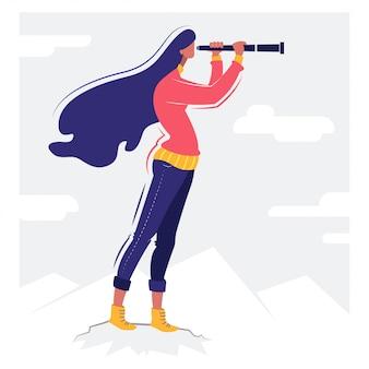 Девушка с биноклем концептуальная иллюстрация