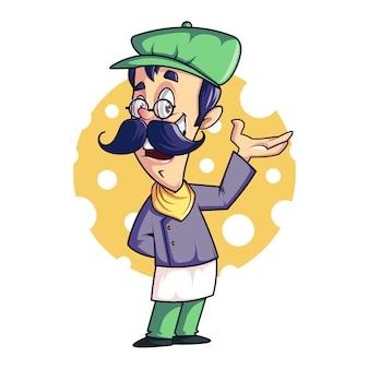 Шеф-повар талисман / мультфильм, векторный дизайн