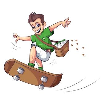 スケートをしている少年ベクトルデザイン
