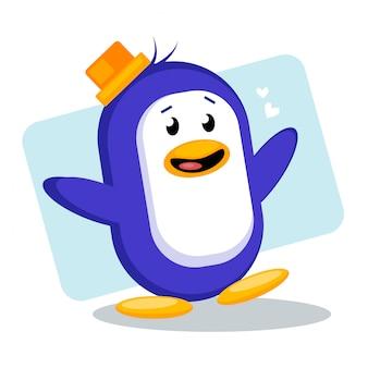 ハッピーかわいいペンギンのベクトル図